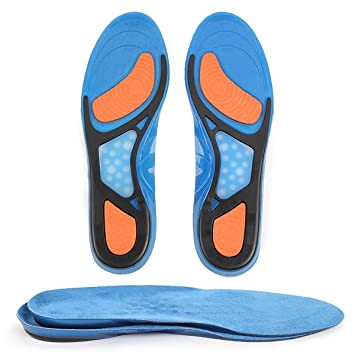 pretty nice 50558 72651 Gel Sports Orthotic Insoles for Shock Absorption, Suede,Heel Protection,  Plantar Fasciitis Relief