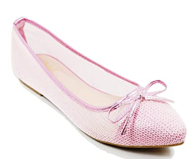 Walstar Mesh Flat Shoes for Women Ballet Lace Mesh Flat Slip On Shoes