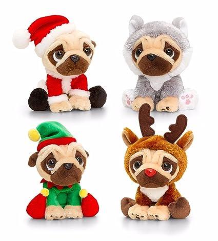 Jouets de quille Pugsley Christmas Pug Dog en peluche doudou