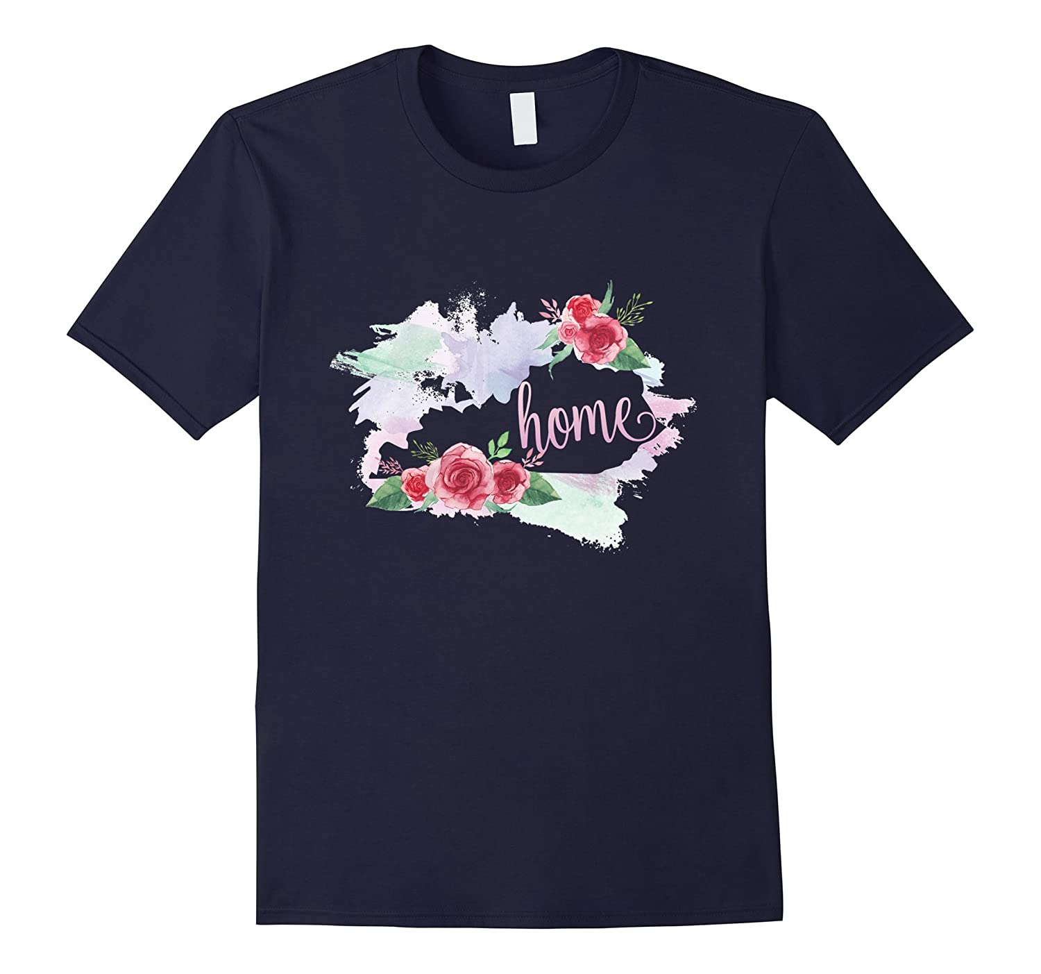 Kentucky Is My Home T Shirt Map Floral Vintage Style-Vaci
