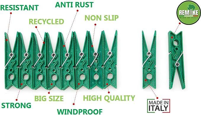 Ideal para lavander/ía y Fotos 95/% con Pl/ástico Reciclado Molde monobloque 40 Piezas Resistente y a Prueba de Viento Talla Grande Remake Pinzas para la Ropa ecol/ógico