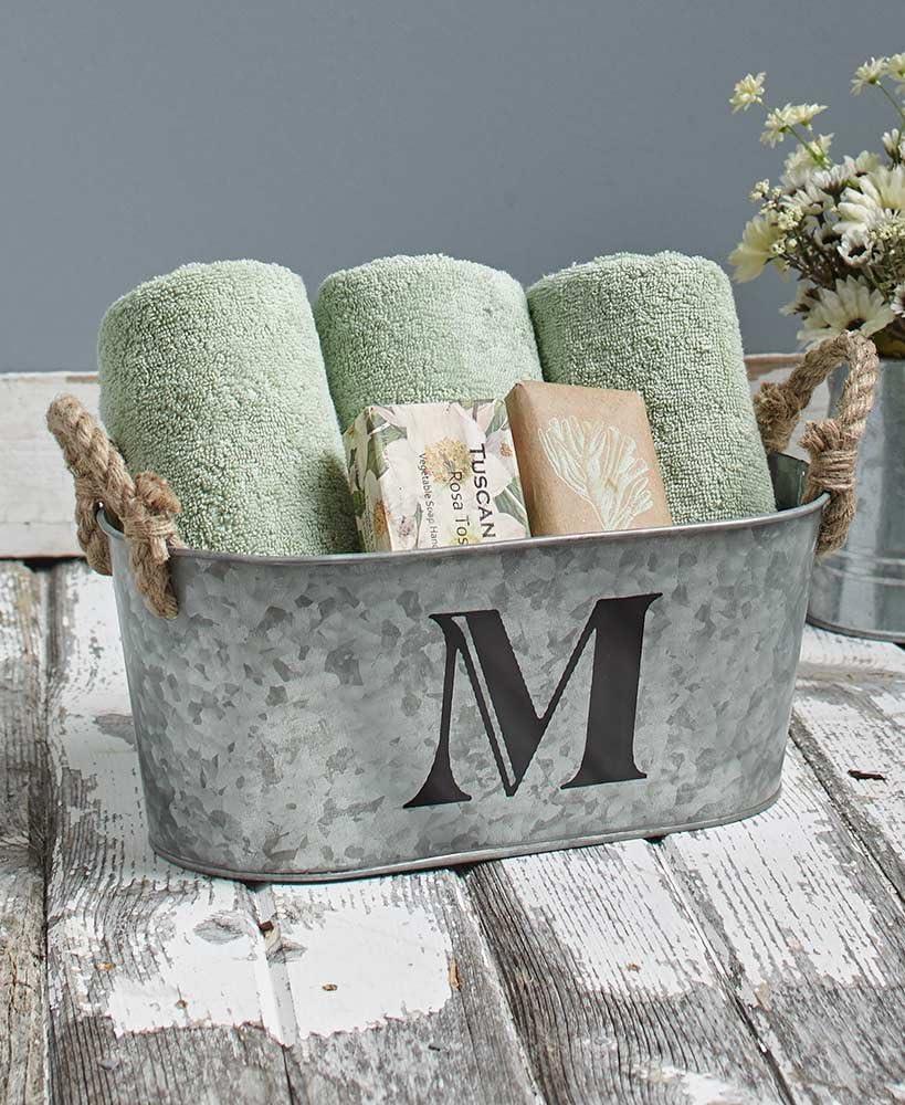 The Lakeside Collection Distressed Galvanized Metal Monogram Bucket Bathroom Storage Bin - M