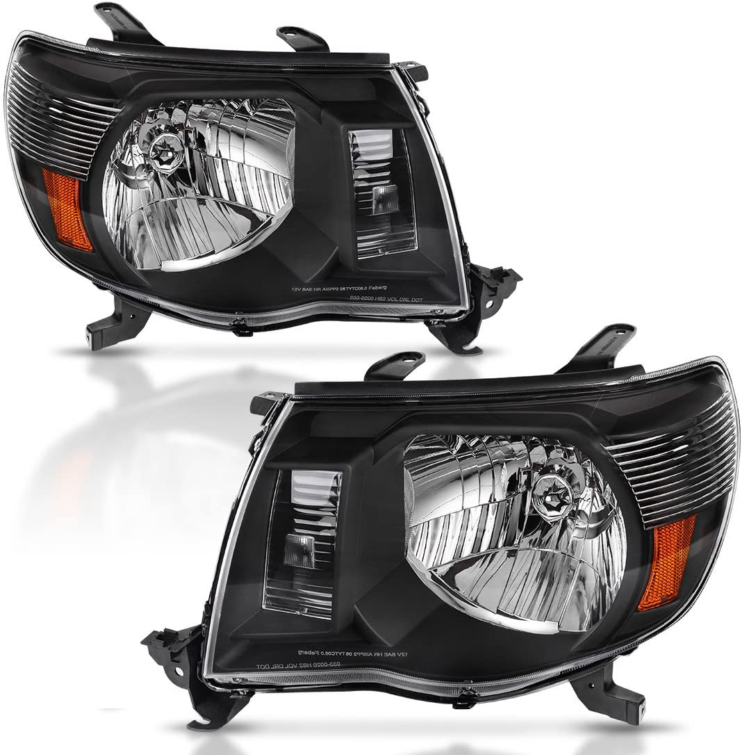 AUTOSAVER88 Compatible with 2005-2011 Toyota Tacoma Pickup Truck Headlight Assembly OE Style Replacement Black Housing Amber Reflector