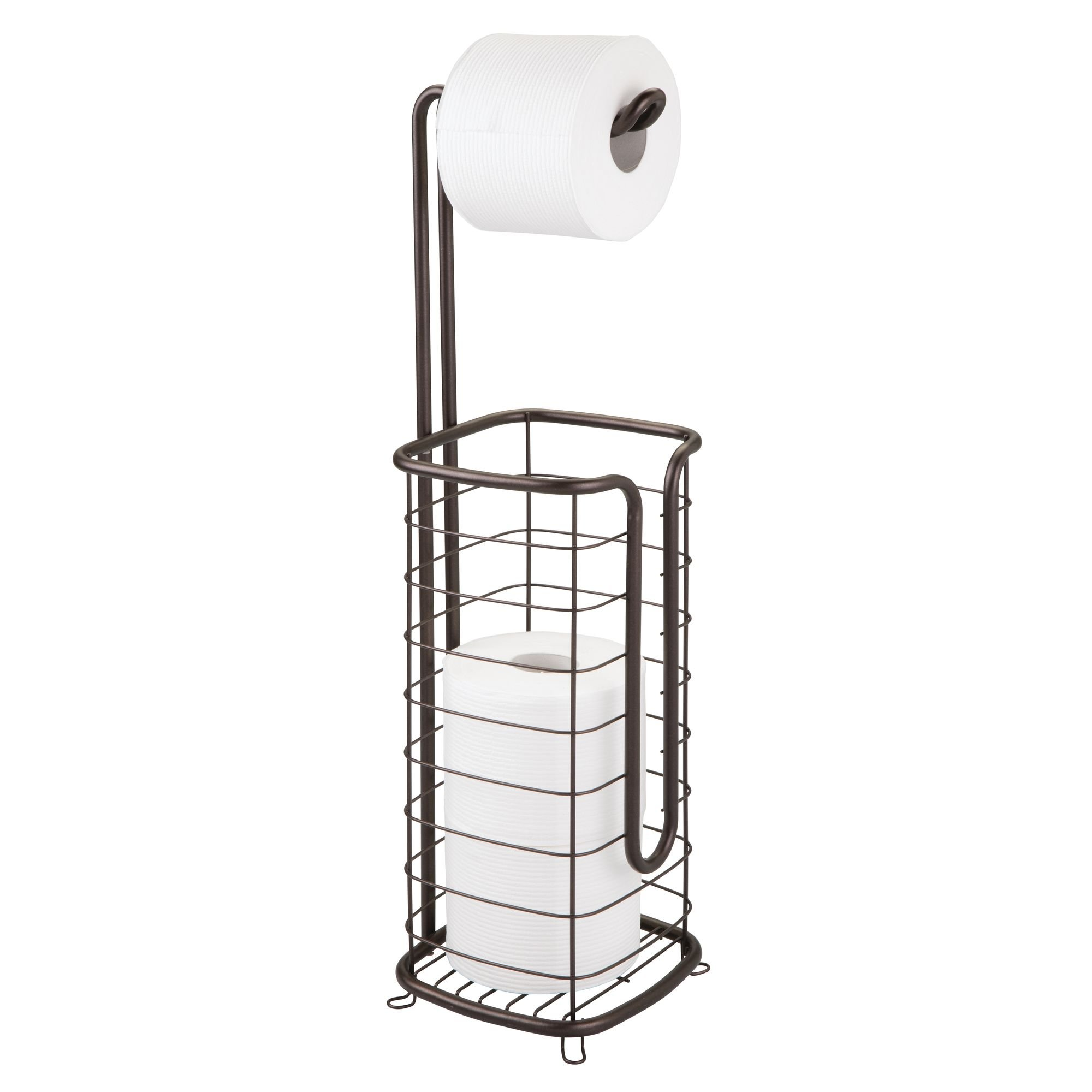 mDesign Free Standing Toilet Paper Holder Stand and Dispenser, with Storage for 3 Spare Rolls of Toilet Tissue While Dispensing 1 Roll - for Bathrooms/Powder Rooms - Holds Mega Rolls - Bronze