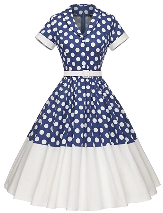 Polka Dot Dresses: 20s, 30s, 40s, 50s, 60s GownTown Women1950s Printed -Dot-Floral Splicing Party Swing Dress $38.98 AT vintagedancer.com