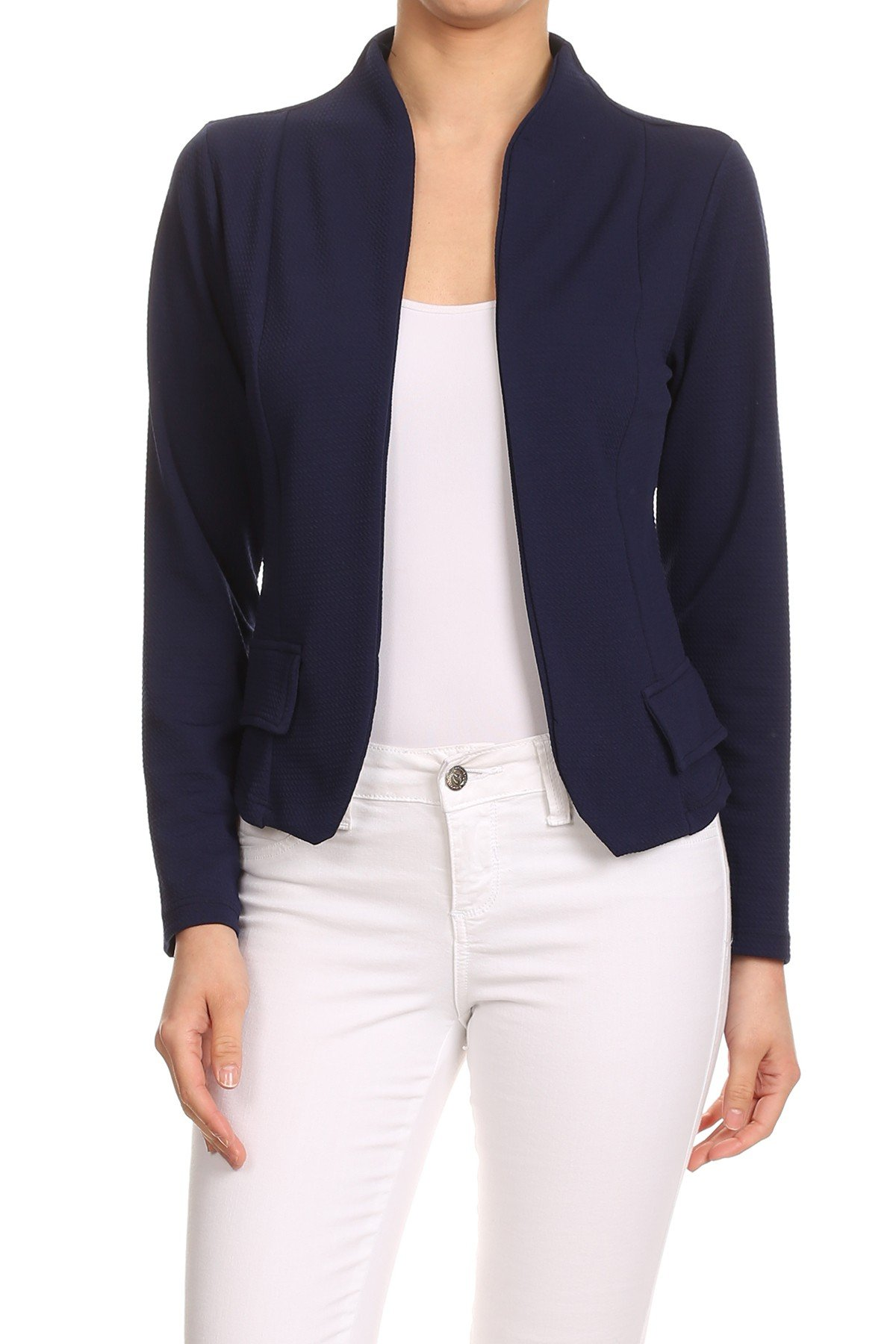 MissyMissy Womens Casual Business Loose Fit Solid Blazer Jackets J907 (2X-Large, Navy)