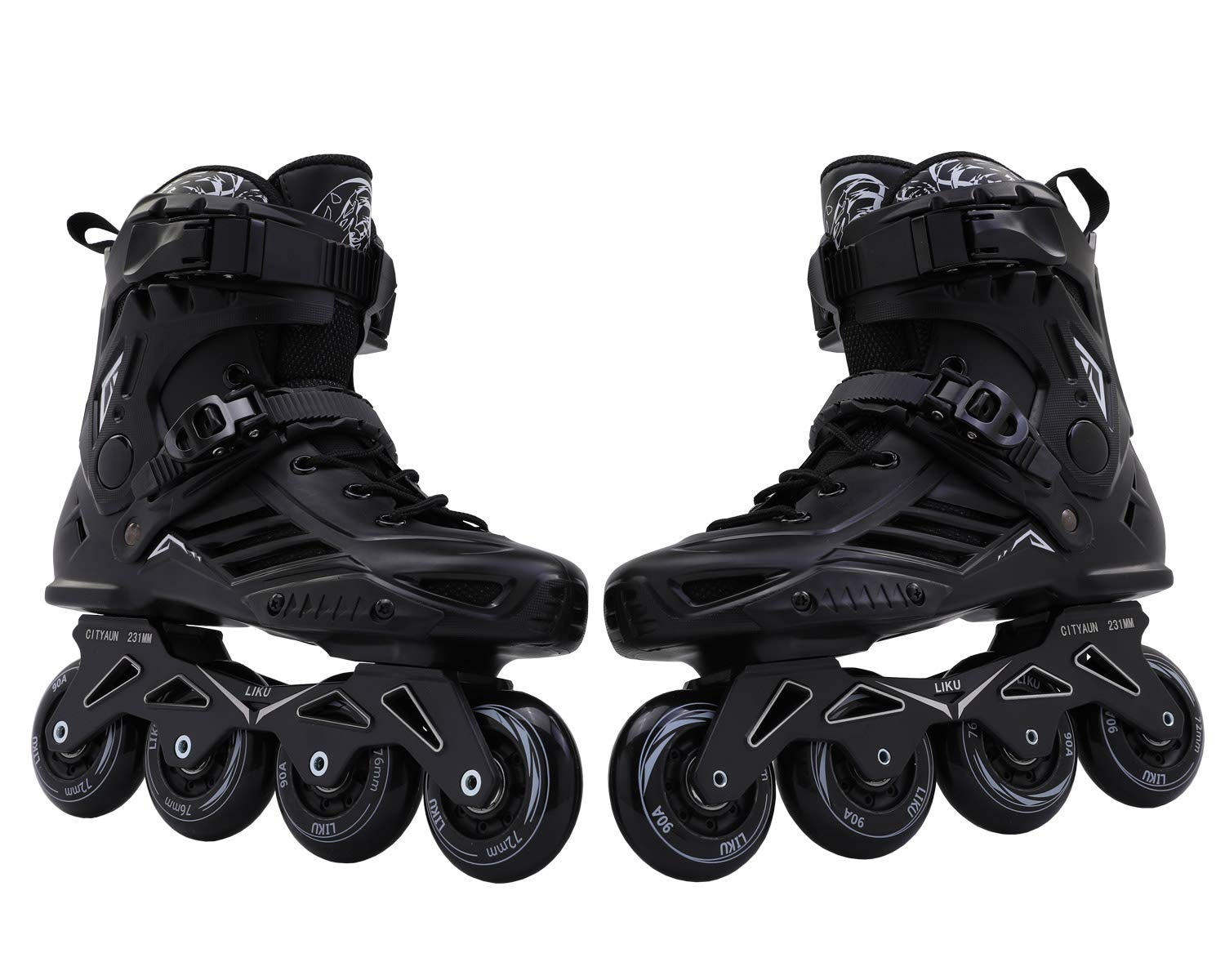 LIKU Fitness Professional Inline Roller Skates Women Men Adult Youth Black (Men 6.5,Women 7.5) by LIKU (Image #7)