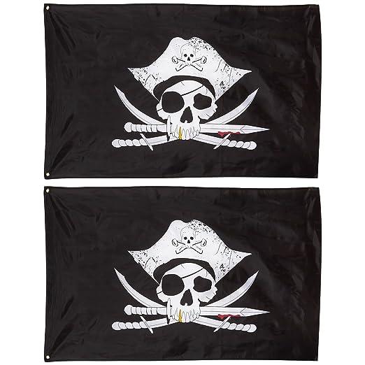 Pirata banderas - Lote de 2 calavera Jolly Roger pirata bandera ...