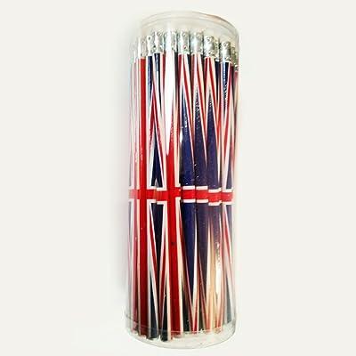 # 1meilleures VENTES de crayons de. Emballé Lot de 72Standard Student Crayons à papier avec gomme/caoutchouc, Union Jack, idéal London School Student Bureau Home souvenir en pot de plastique,