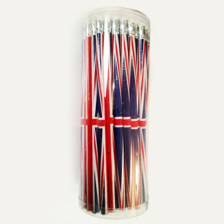 Set di matite, 72 matite con gomma, motivo: bandiera UK, ideali per la scuola, l'ufficio, la casa, S01 l' ufficio Lambert Souvenirs