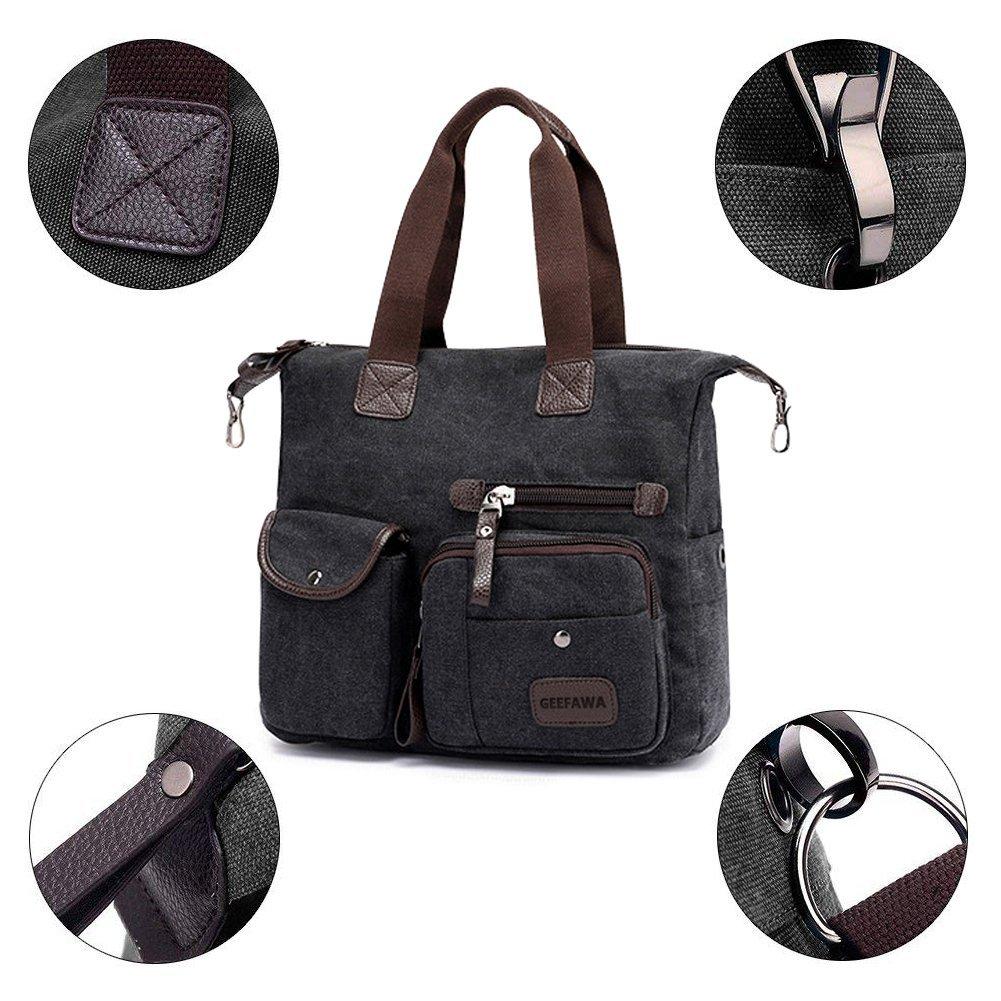 Women's Canvas Tote Bag Top Handle Bags Shoulder Handbag Tote Shopper Handbag crossbody bags (Black) by Greatbuy-US (Image #4)