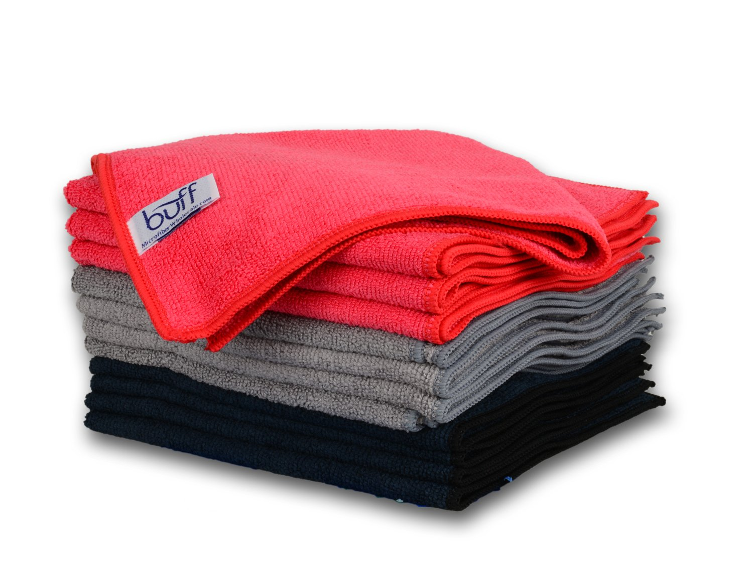 """Red, Gray, And Black Microfiber Cleaning Cloths 
