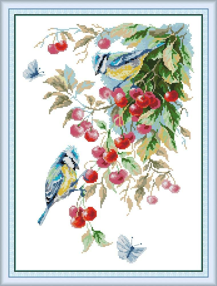 inch Maydear Cross Stitch Kits Stamped Full Range of Embroidery Starter Kits for Beginners DIY 11CT 3 Strands Bird in The Cherry Tree 16.9/×22.4