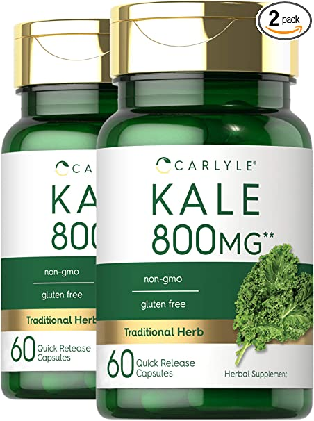 Carlyle Kale Extract 800mg   2 Bottles - 60 Capsules Each   Non-GMO and Gluten Free