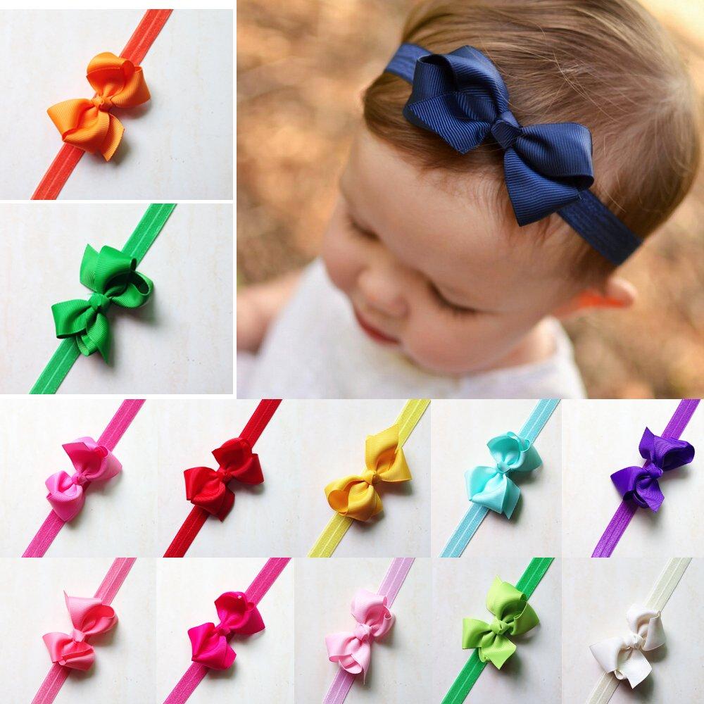 DoMii Newborn Baby Girl Bows and Headbands Infant Bowknot Flower Nylon Headbands for Photography 358-bows20