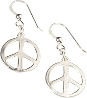 product image for Delicate Peace Symbol Silver-dipped Earrings on French Hooks