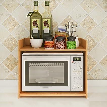 Amazon.com: LIANGJUN Wooden Microwave Oven Rack Storage ...