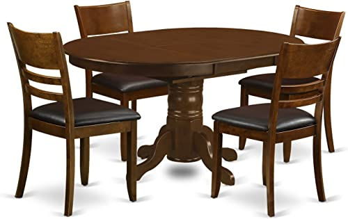 KELY5-ESP-LC 5 Pc Kenley with a 18 Leaf and 4 Leather Chairs