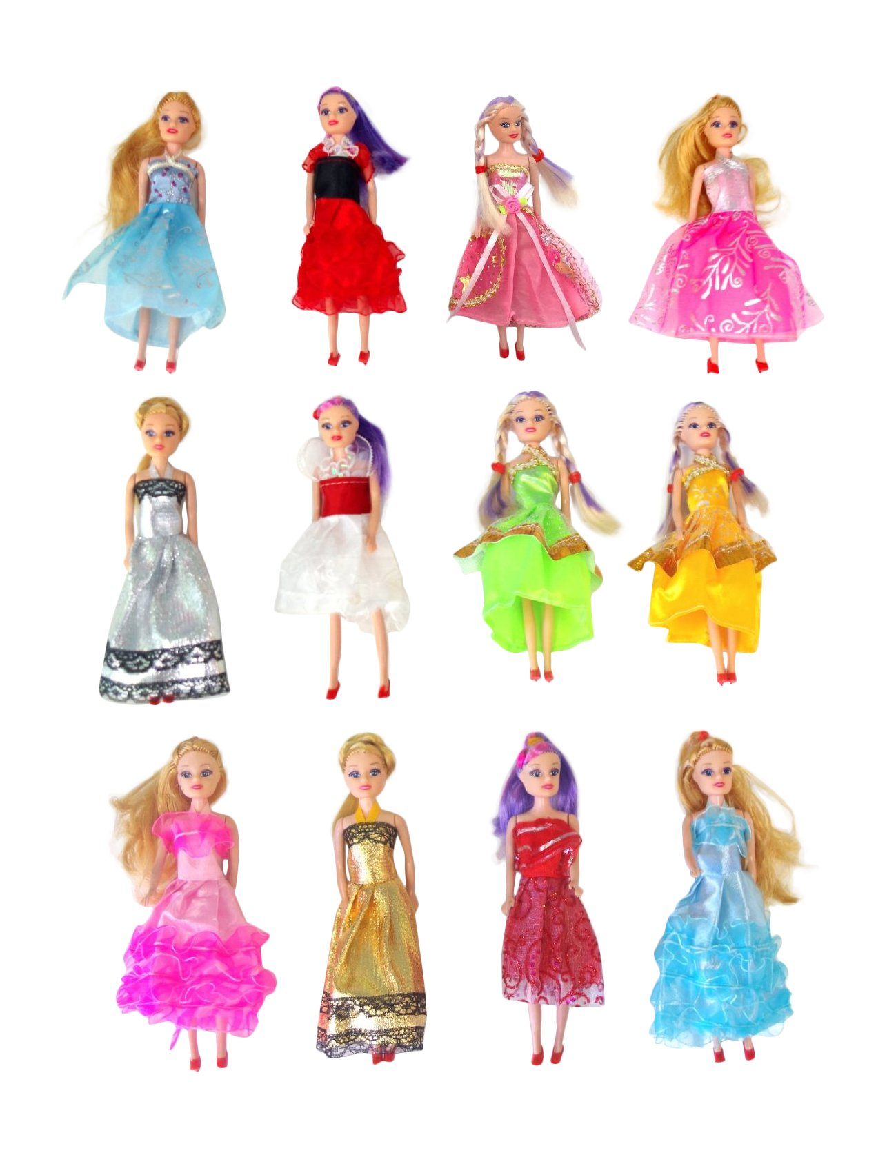 Miniature Doll 12-pack Play-set Bundle with Princess and Fashion Clothes Accessories. Great for birthday party favors, tea parties, and dollhouses. 6'' tall