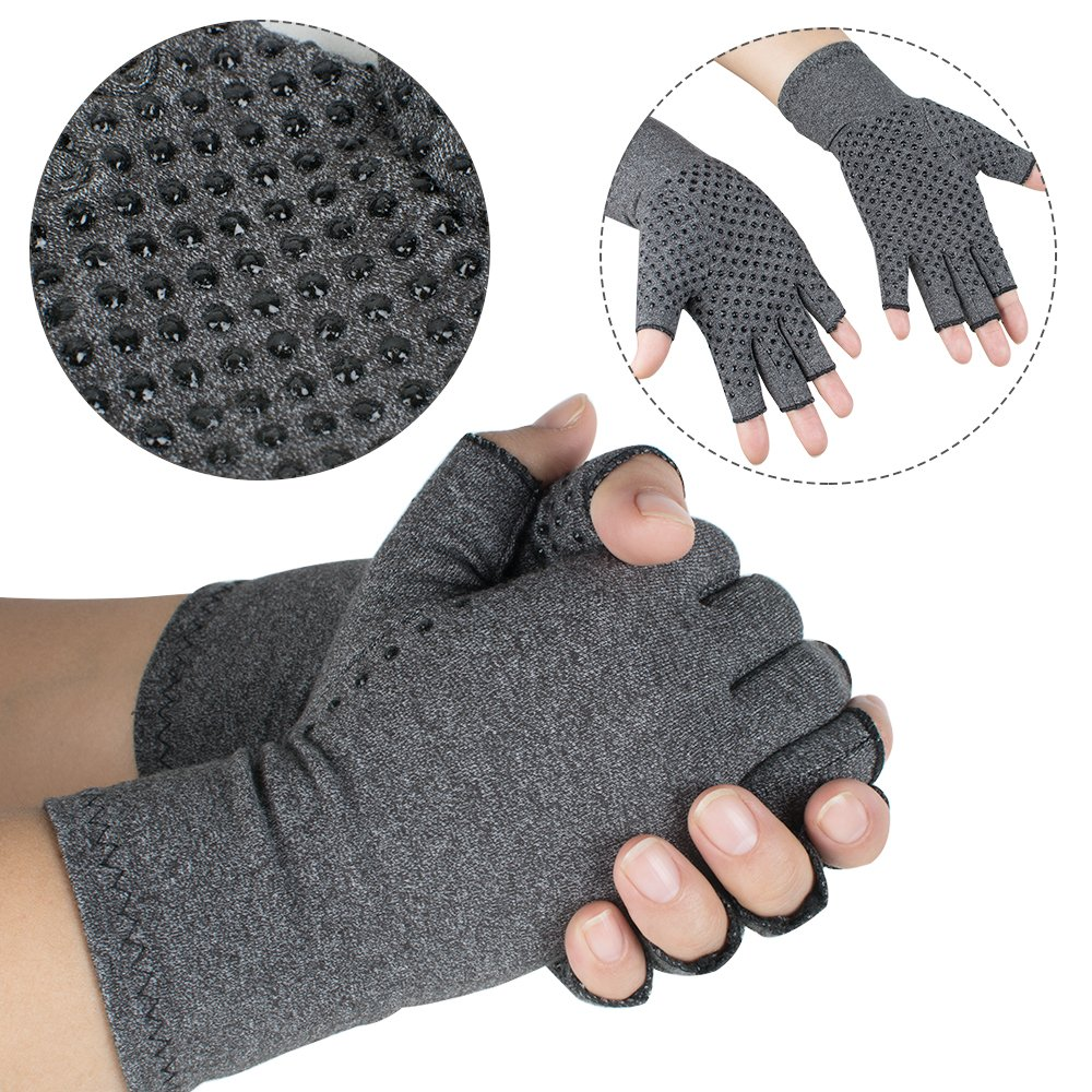 zinnor Arthritis Gloves Compression Hand Arthritic Joint Pain Symptom Relief Men Women Open Finger (Big)