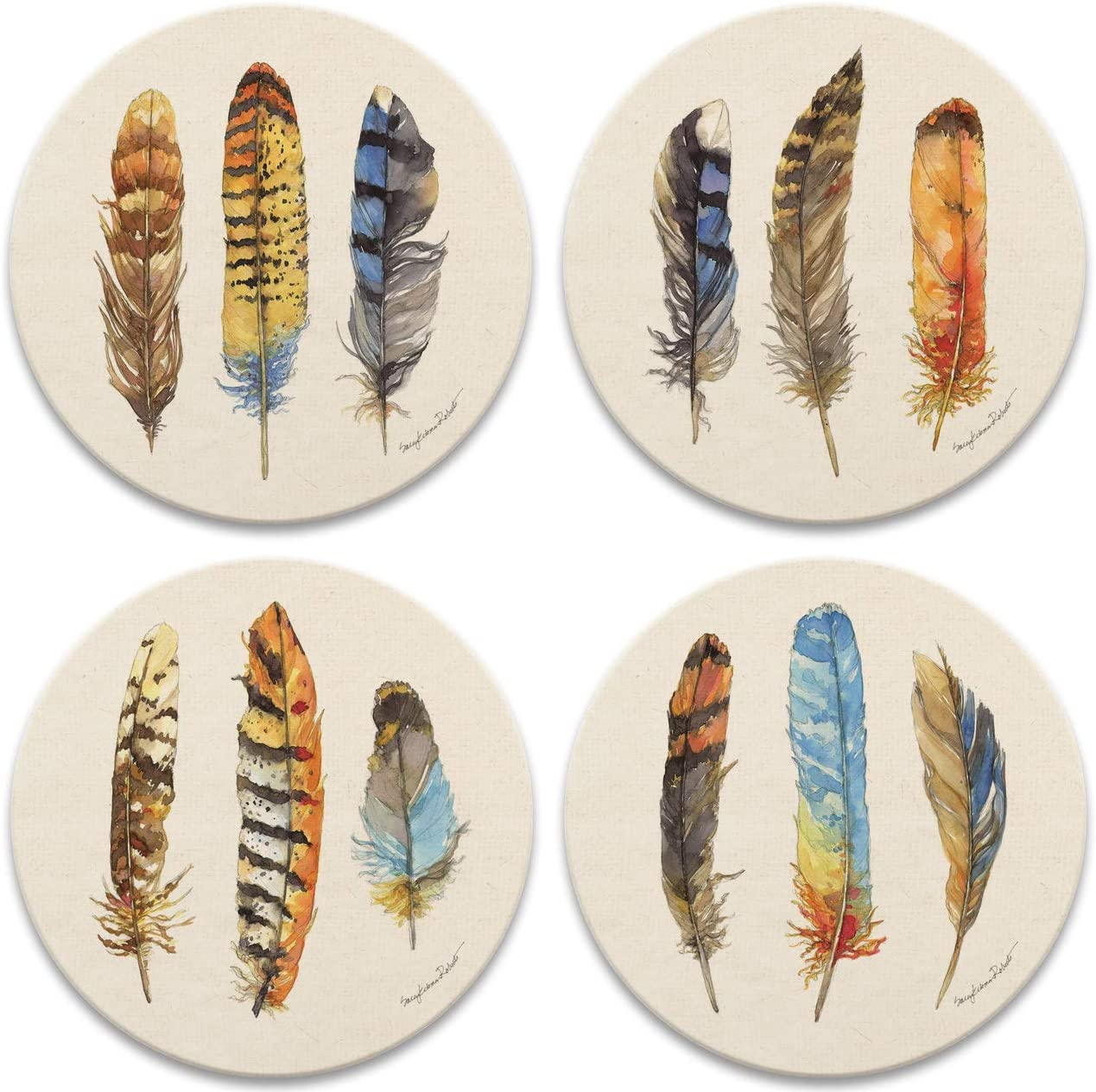NEW Thirstystone Ikat Feathers Coaster Set Of 4