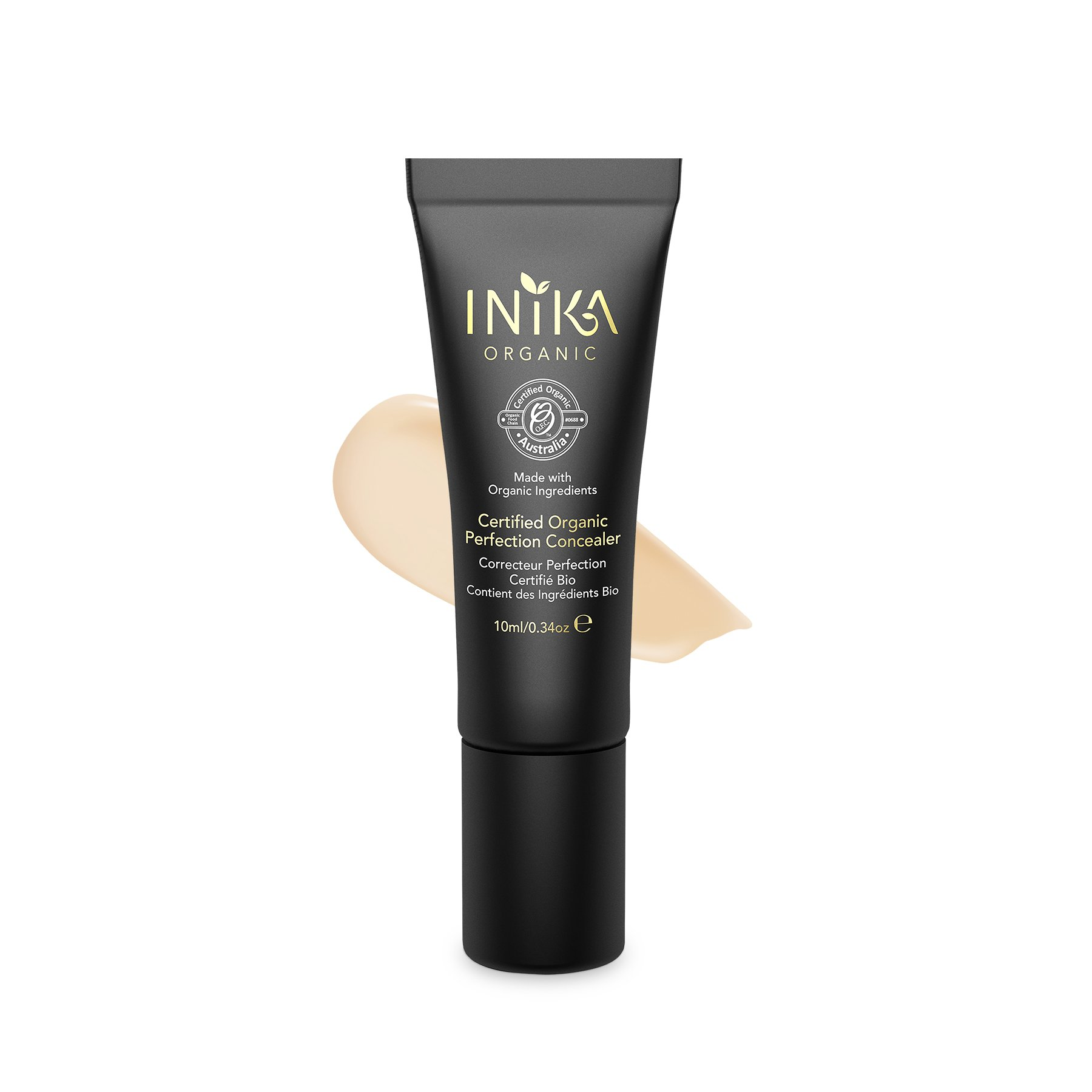 INIKA Certified Organic Perfection Concealer, All Natural Flawless Make-Up Base, Lightweight Formula, Hypoallergenic10 ml (Light)