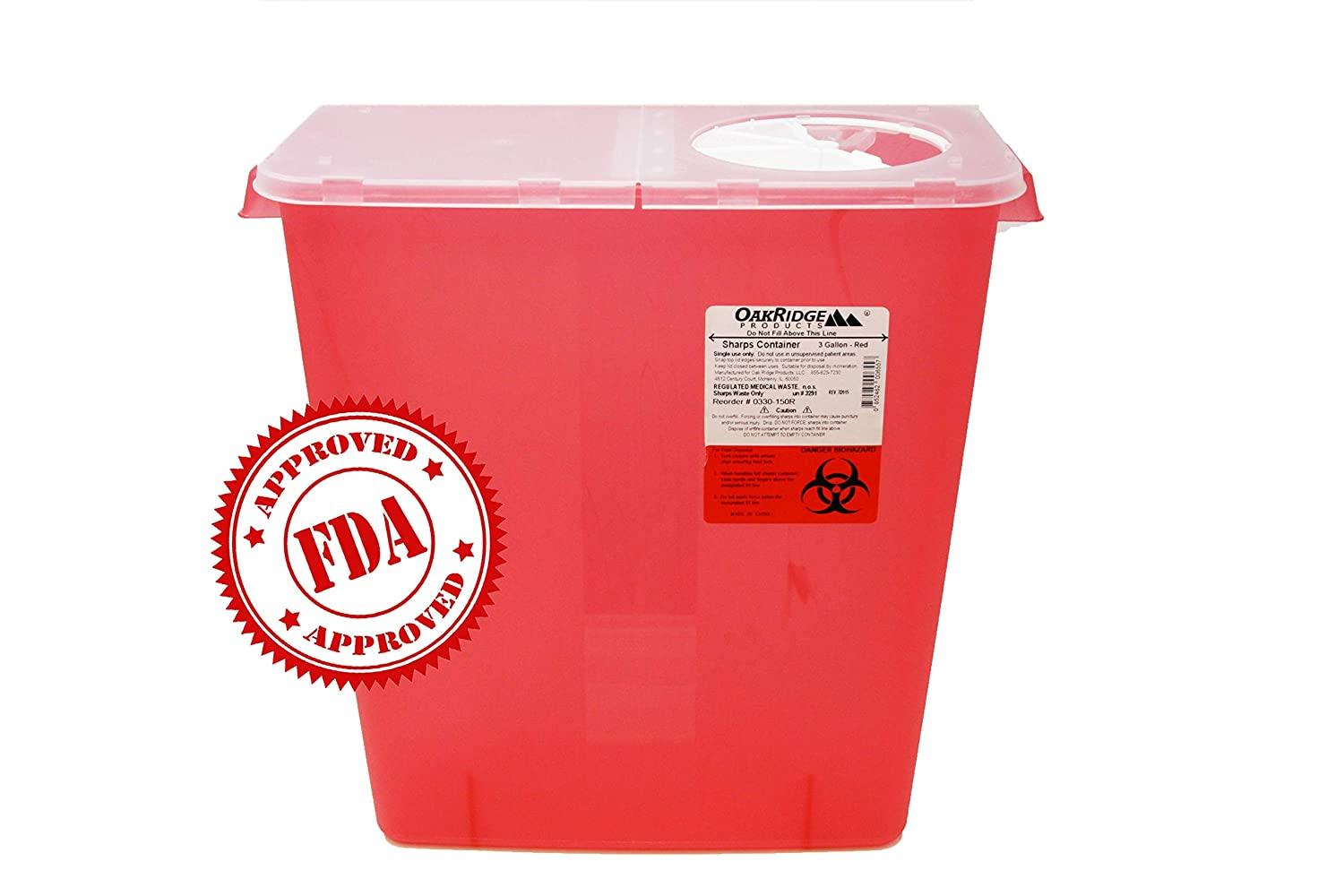 Oakridge 3 Gallon Size (Pack of 3) Needle and Syringe Disposal Container: Industrial & Scientific
