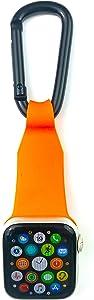 inurseya Carabiner Watch Fob Compatible with Apple Watch 1-6 (38mm-44mm) (Orange)