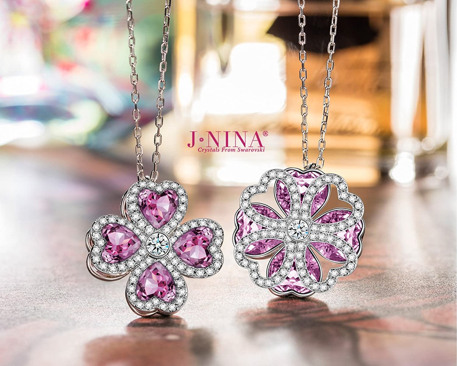 "Amazon.com: J.NINA ""Lucky Meeting"" Made with Swarovski Crystals, Clover  Hollow Rotatable Pendant Heart Women Necklace, Ideal Gift for her: Jewelry"