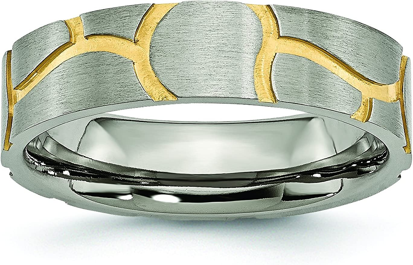 6mm Grooved Yellow Plated Brushed Finish Textured Designer Titanium Wedding Band