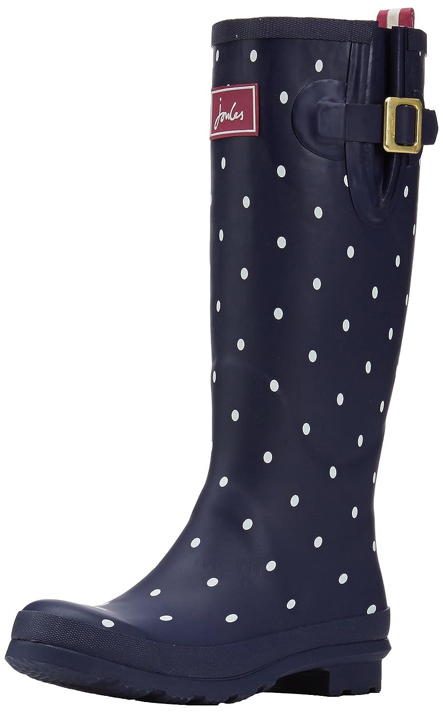 Joules Women's Welly Print Rain Boot B0763TV397 Women's 6|Navy Spot/White