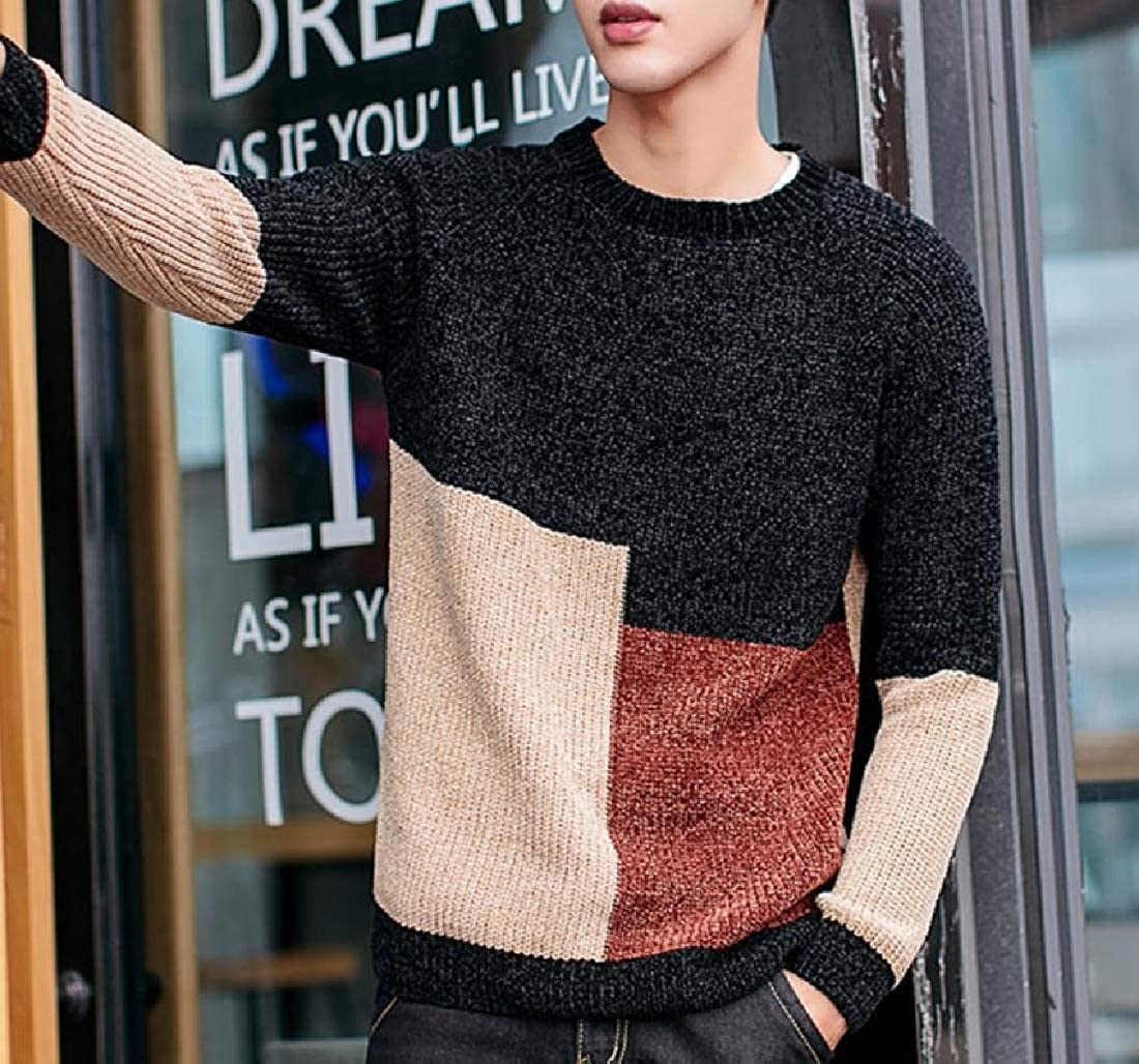 cheelot Mens Loose Fit Spell Color Top Knit Pullover Crew-Neck Autumn Sweater