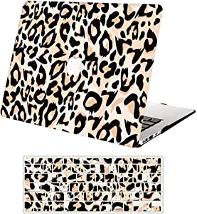 """MacBook Air 13 inch Case (A1369 & A1466, Older Version 2010-2017 Release), AJYX Plastic Hard Case Protective Cover & Keyboard Cover Only Compatible with MacBook Air 13.3"""" Leopard JR836"""
