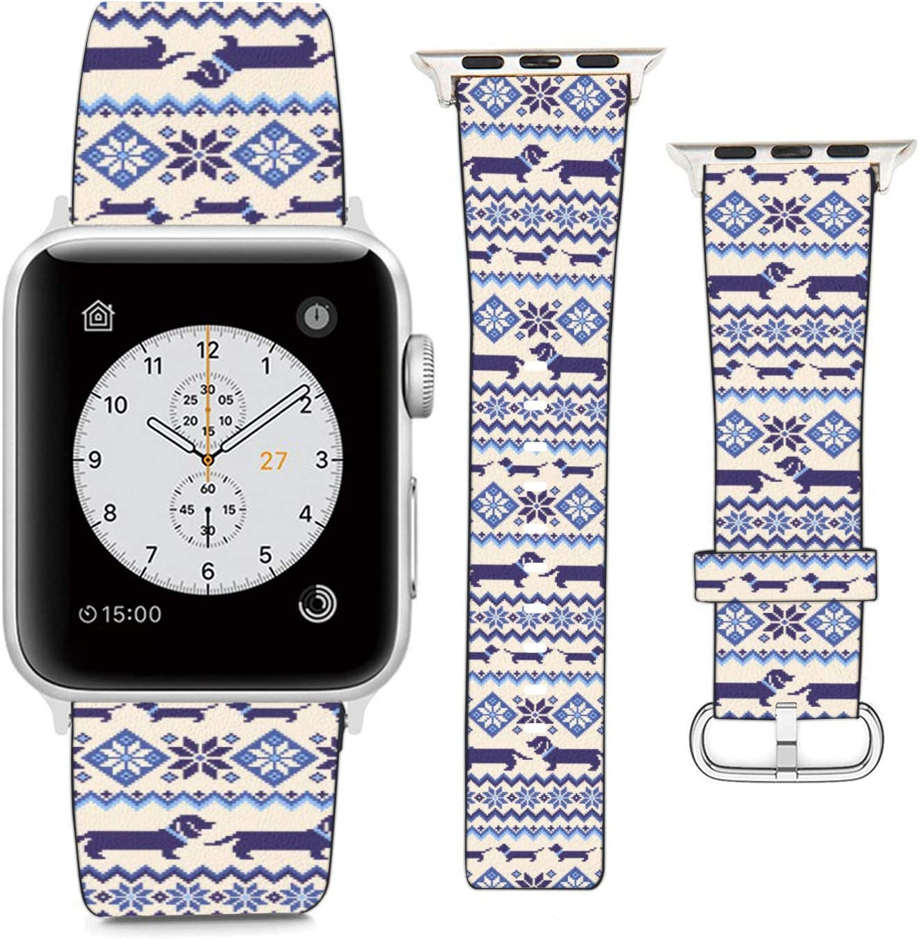 Compatible with Apple Watch Wristband 42mm 44mm, (Dachshund and Snowflake Christmas Pattern) PU Leather Band Replacement Strap for iWatch Series 5 4 3 2 1
