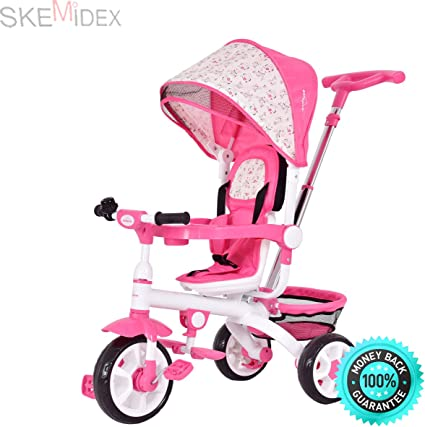 4-In-1Twins Kids Baby Stroller Tricycle Detachable Learning Toy Bike w// Canopy