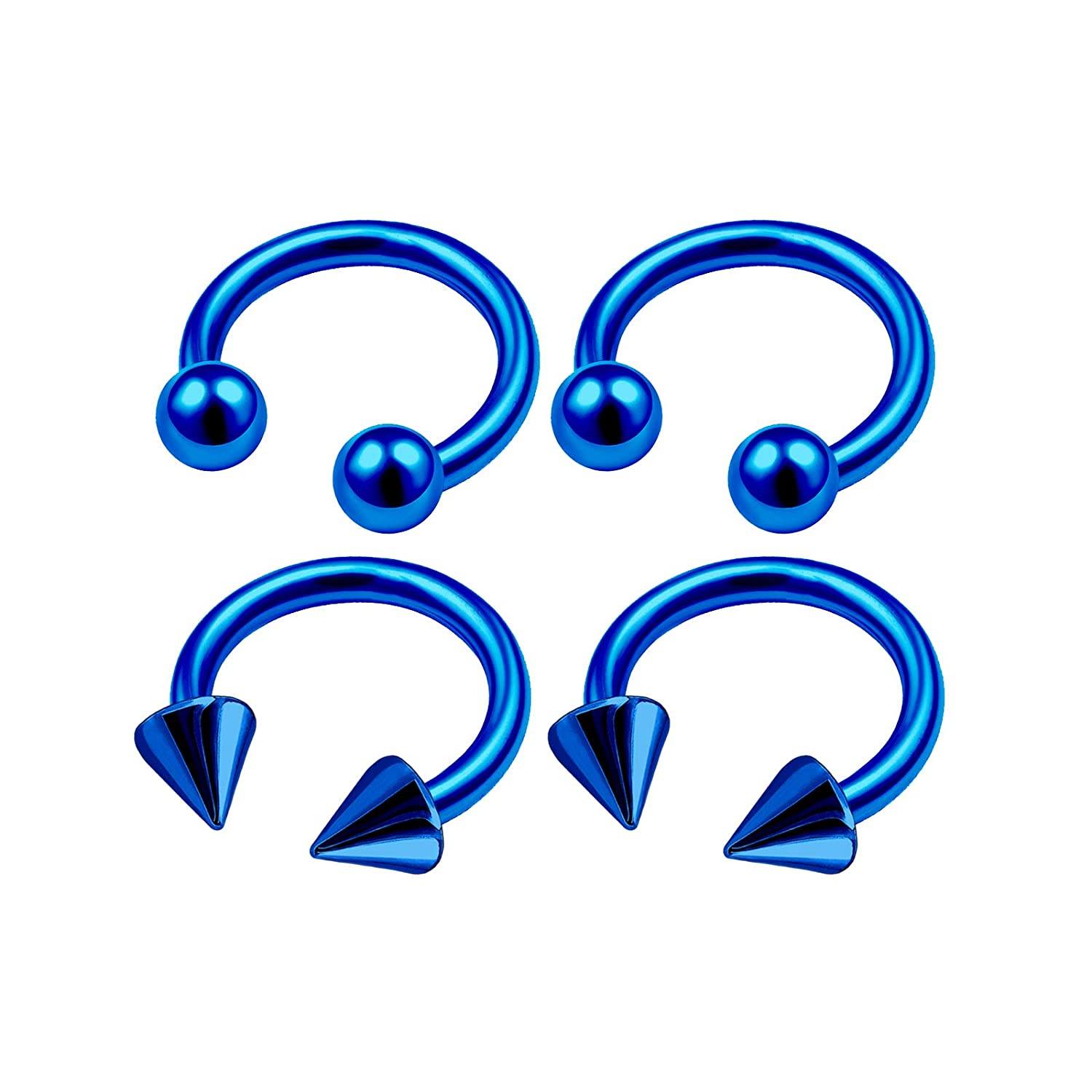MATIGA 4Pcs Anodized 20g-14g Cartilage Horseshoe Hoop Piercing Jewelry Tragus Eyebrow Nose Septum Cartilage Ball Cone More Choices