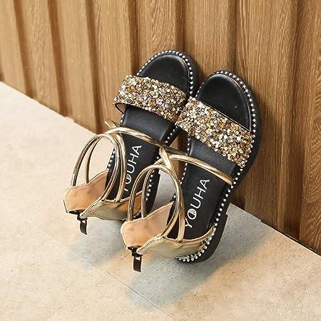 Sandalias del niña de Verano Riou Casual Sandalias de Vestir niños Lentejuelas Princesa Zapatos Solo Zapatos Frescos Moda Linda Antideslizante Bebe Chicas Calzado Fiesta