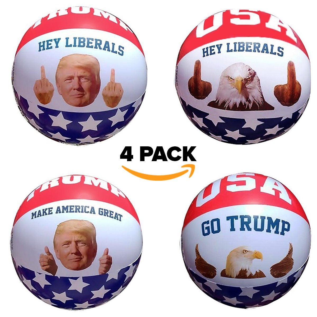 Inflatable Beach Ball Pool Toy: 4 Pack President Donald Trump & American Eagle Beach Ball Set Easy To Inflate USA Patriotic Thumbs Up & Middle Finger Ball  Amazing Funny Pool Toys For Adults Idea by BobbleFingers
