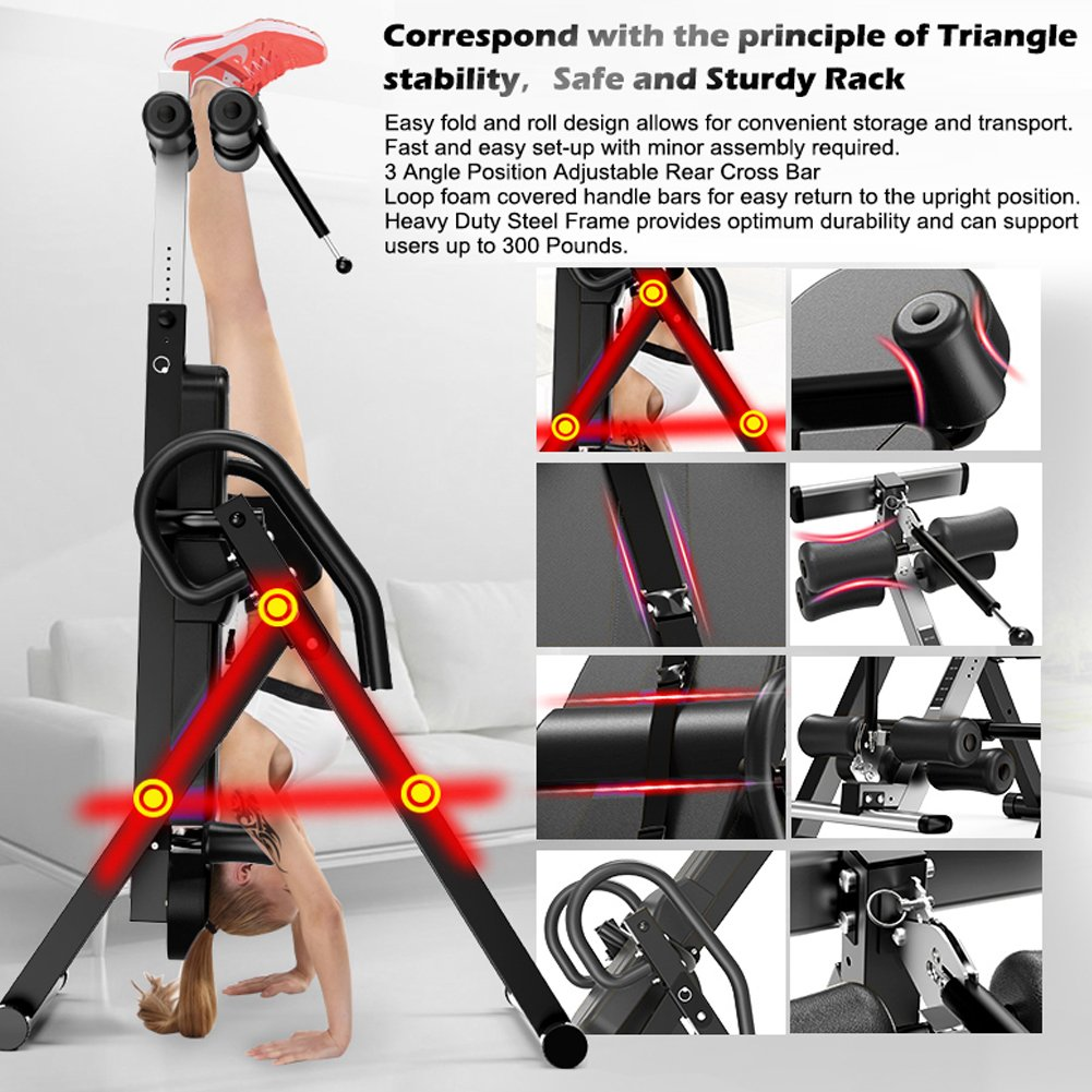 Yoleo Gravity Heavy Duty Inversion Table with Adjustable Headrest & Protective Belt (Black) by Yoleo (Image #2)