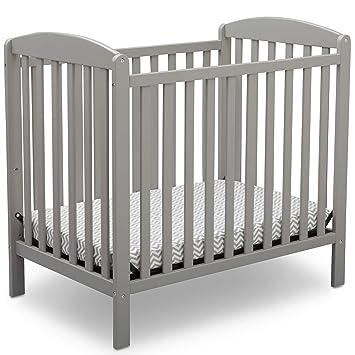 Amazon.com : Delta Children Emery Mini Convertible Baby Crib with Mattress, Grey : Baby