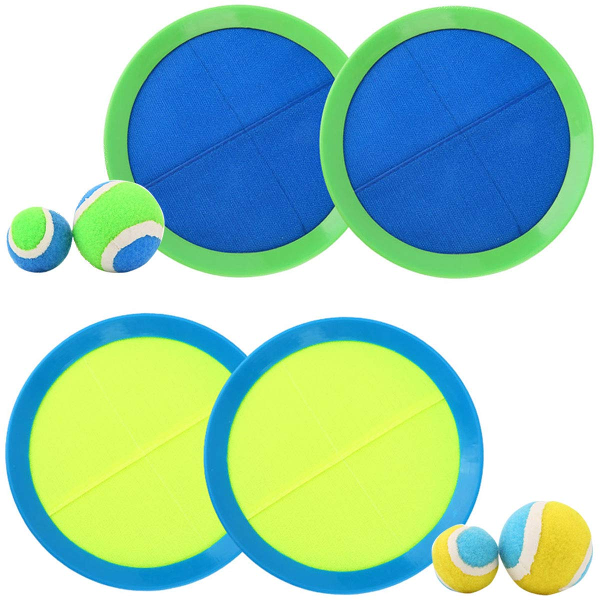 EVERICH TOY Ball and Catch Game-Paddles Toss and Catch Ball Set-Outdoor Sport Balls Game Toys for Kids(2 Smal Balls,2Big Balls,4 Paddles,1 Storage) by EVERICH TOY