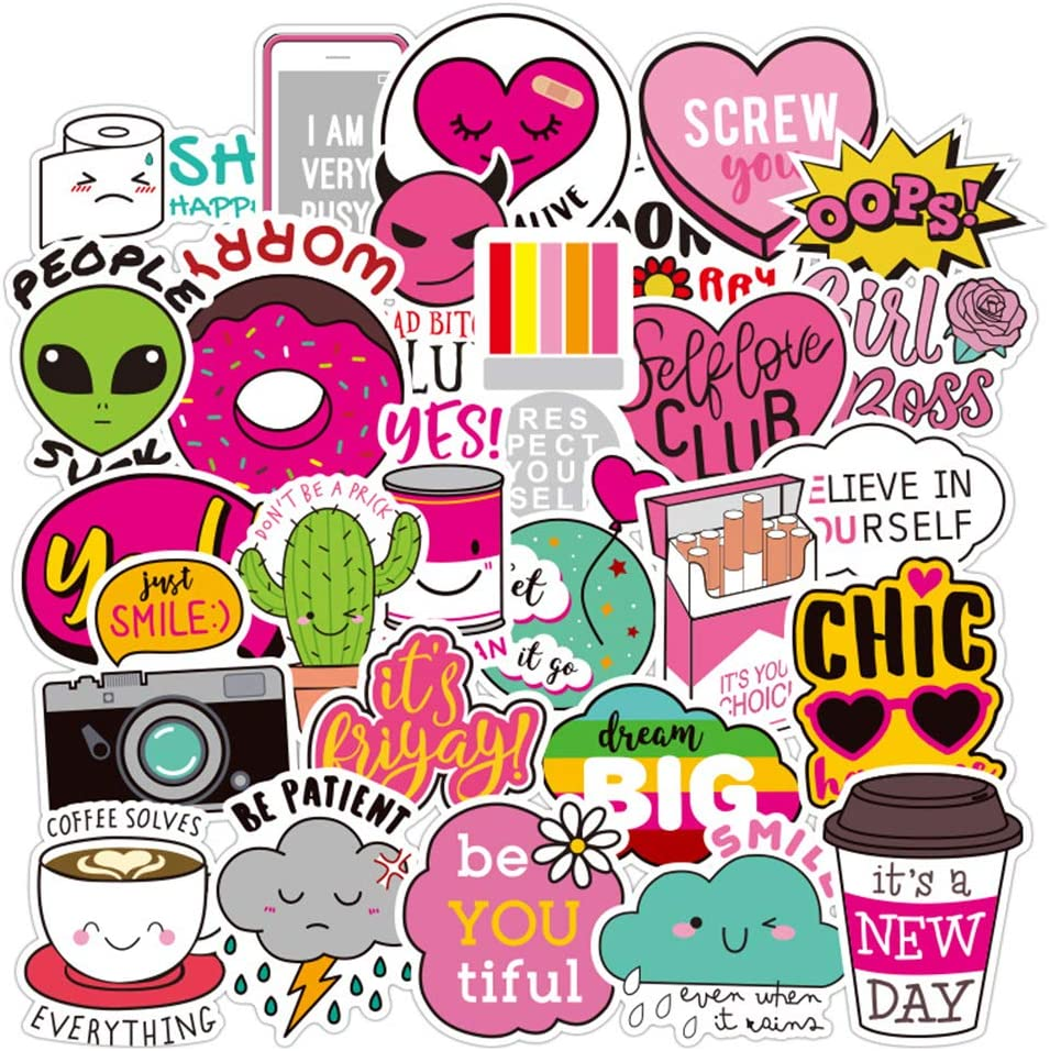 Cute Water Bottles Stickers for VSCO Girls(44 Pack) - Laptops Sticker for Teens Feminist - Aesthetic Trendy Waterproof Vinyl Sticker Pack for Hydro Flask Tumbler Cameras Phone Luggage Graffiti Decal