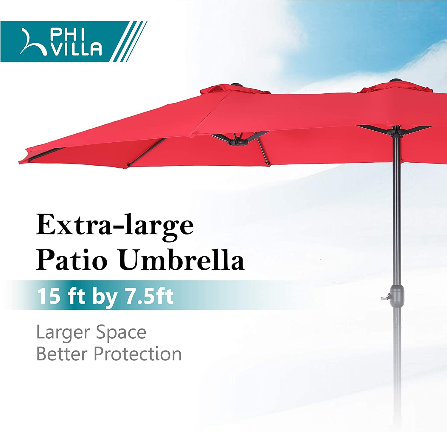PHI VILLA 15ft Double-Sided Extra Large Patio Umbrella Base Included Outdoor Twin Umbrella Red