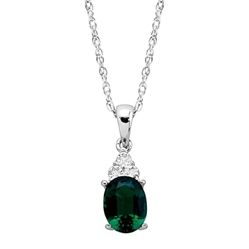 1 1 6 ct Created Oval-Cut Emerald Pendant with Diamonds in Sterling Silver