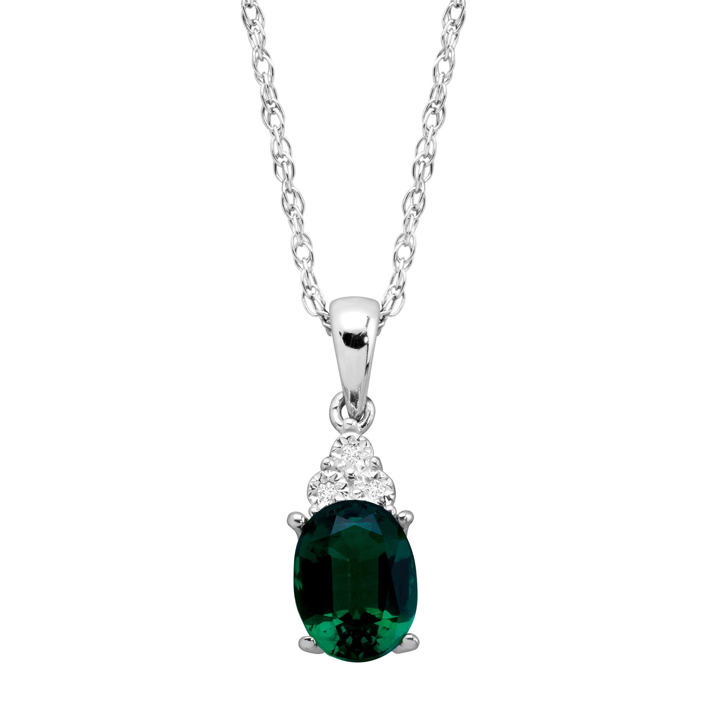1 1/6 ct Created Oval-Cut Emerald Pendant with Diamonds in Sterling Silver