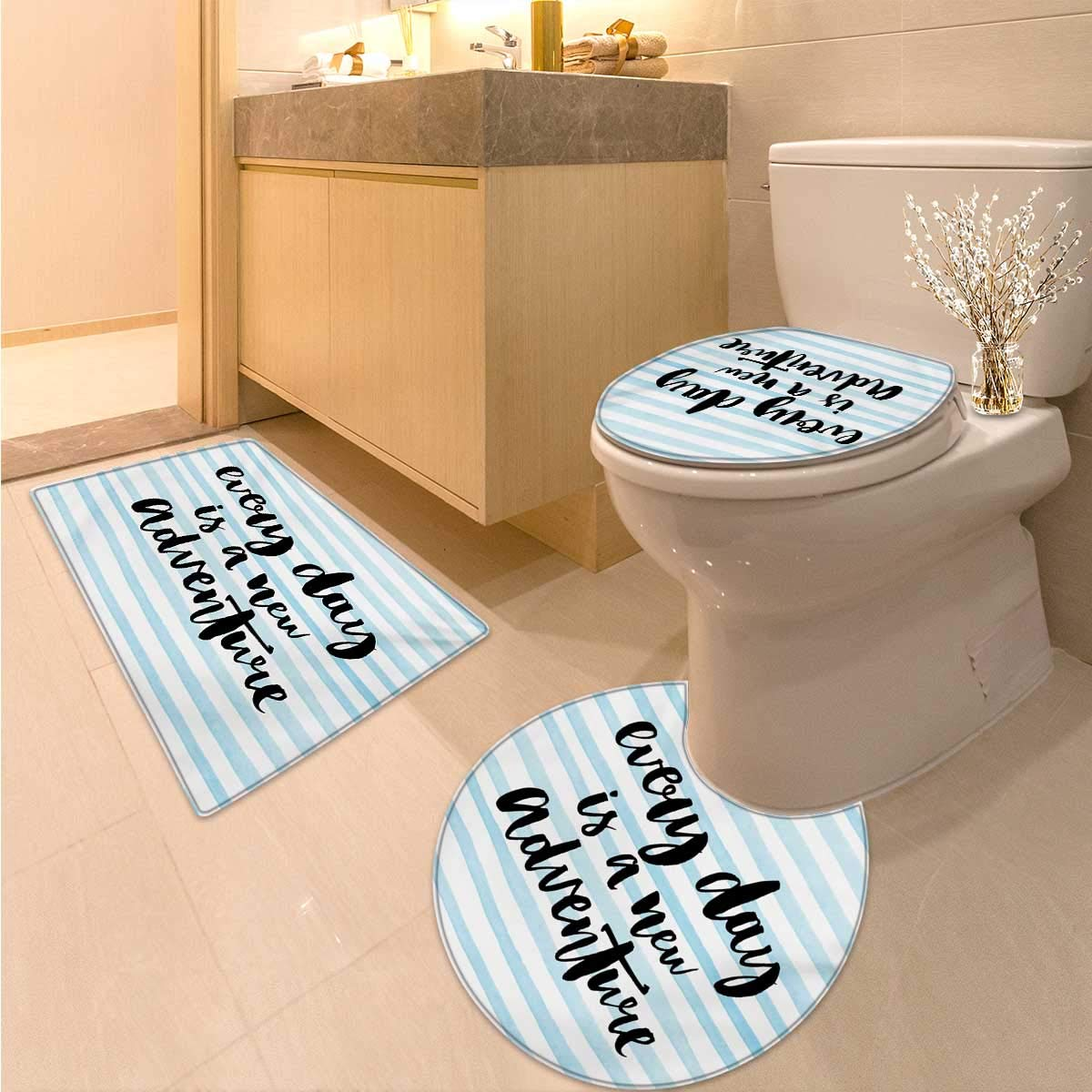 Adventure Bathroom Toilet mat Set Every Day is a New Adventure Quote Inspirational Things About Life Artwork 3 Piece Large Contour Mat Set Baby Blue Black by Anhuthree