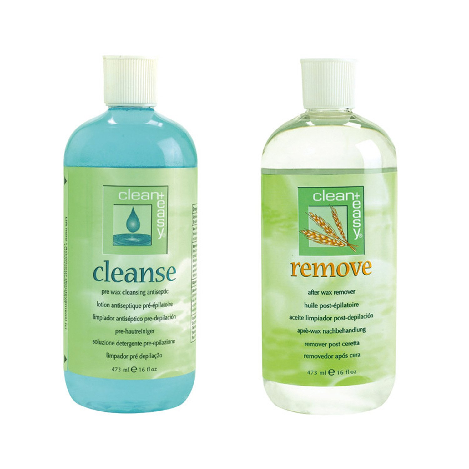 Clean + Easy Pre Wax Cleanse and Post Wax Remove Set, 16 Ounce Each