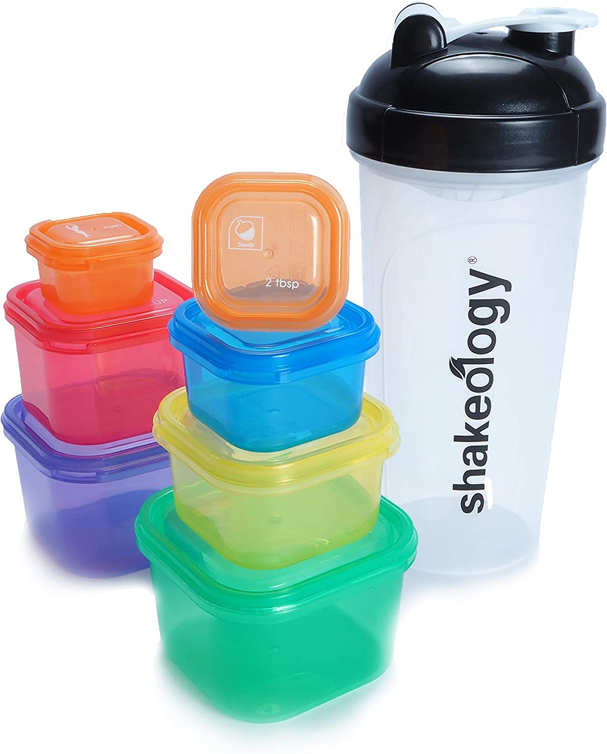 Portion Control Containers, 7 pcs, With White Shaker Bottle, 21 Day Lose Weight System, Containers and Food Plan, Food Storage Containers Easy to Lose Weight, Lose Weight Fast For Women