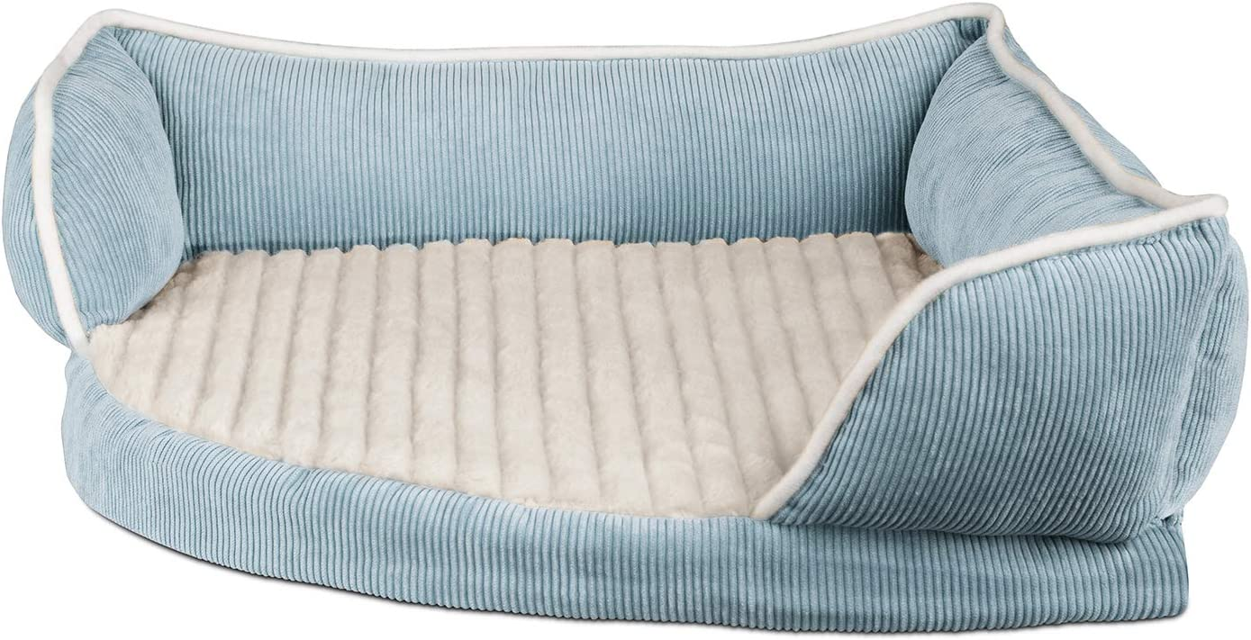 Paws Pals Dog Bed for Pets Cats – Triangle Corner Lounger with Self Warming Cozy Inner Cushion for Home Crate Travel – Medium, Blue