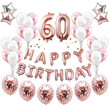 HankRobot 60th Birthday Decorations Party Supplies38packRose Golden Number 60 Balloons Happy